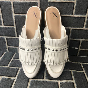 A NEW DAY KAROLINE BACKLESS LOAFER SZ 10 WHITE NWT